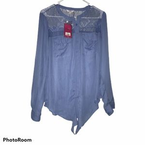 NWT Candies Lace Blouse Size Large